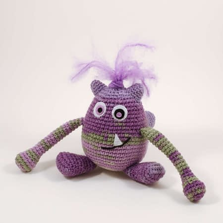 crochet purple monster front view