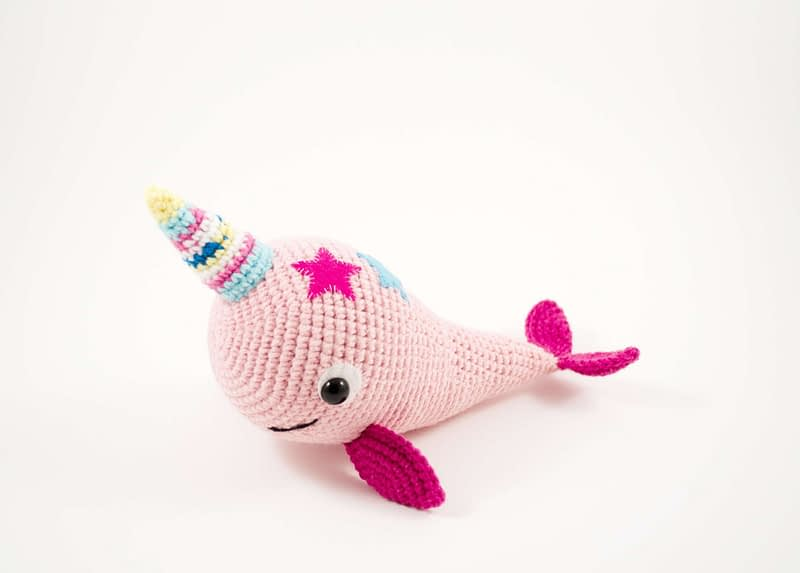 crochet pink narwhal side view