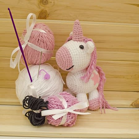 crochet pink unicorn diy kit