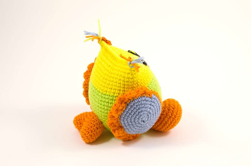 crochet baby owl side view