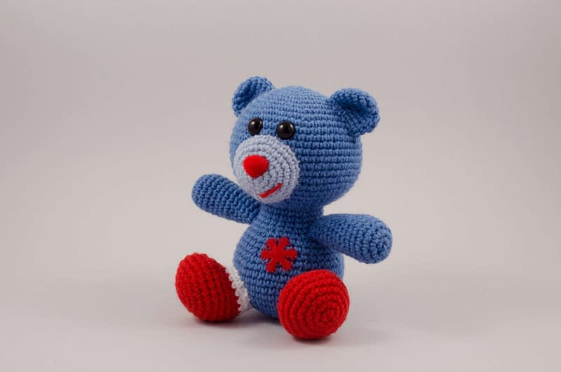 crochet blue bear side view