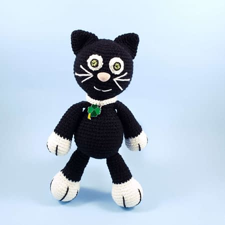 crochet black cat front view