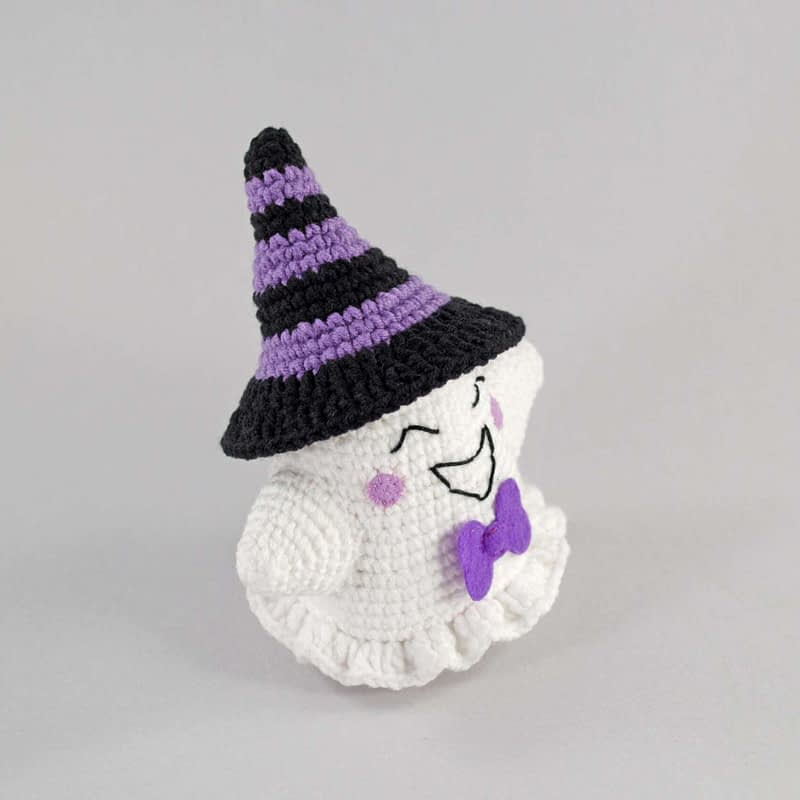 crochet purple ghost side view