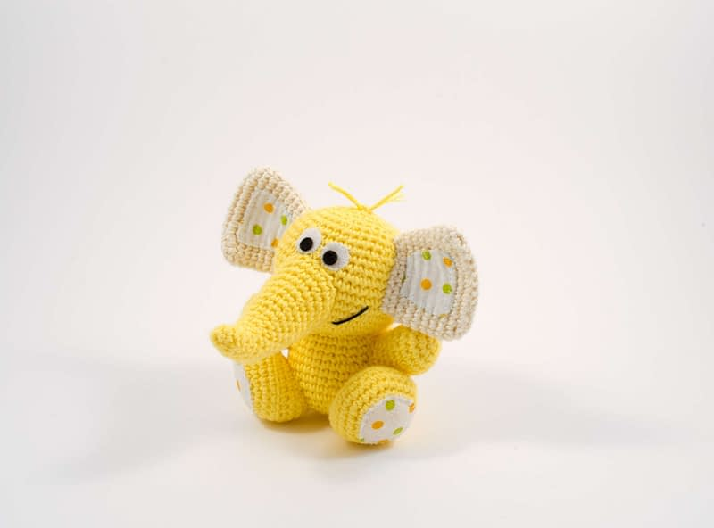 crochet yellow elephant toy