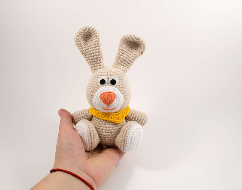 crochet bunny toy front view