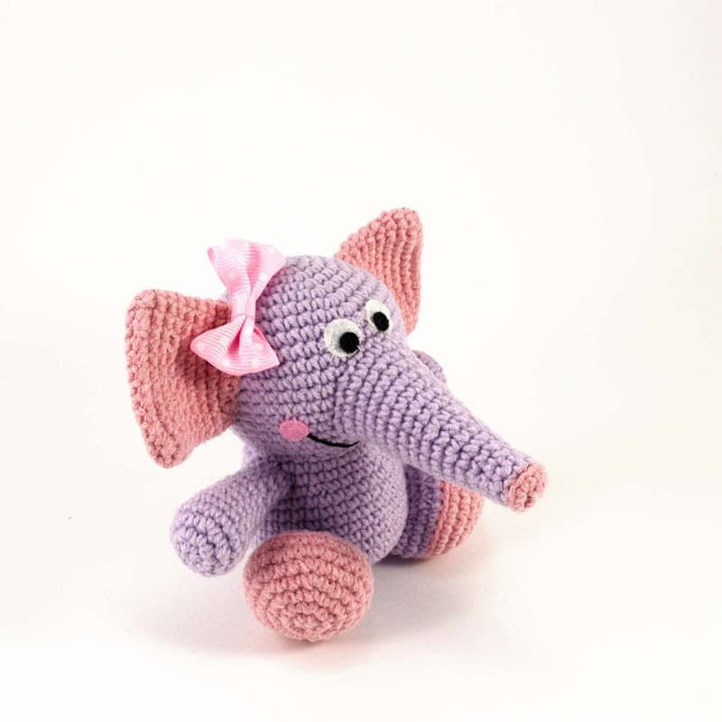 crochet purple elephant side view