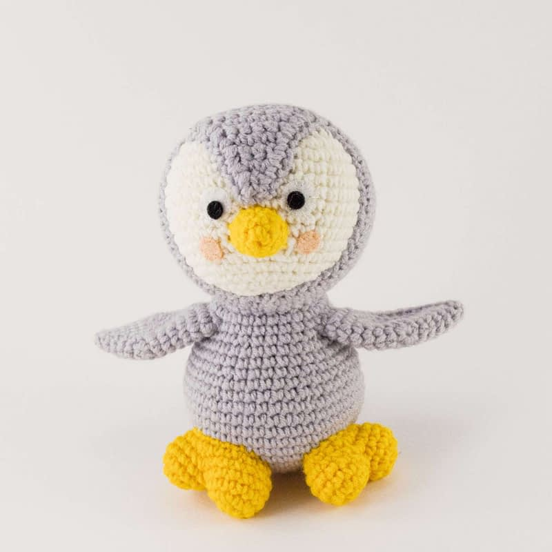 crochet grey penguin