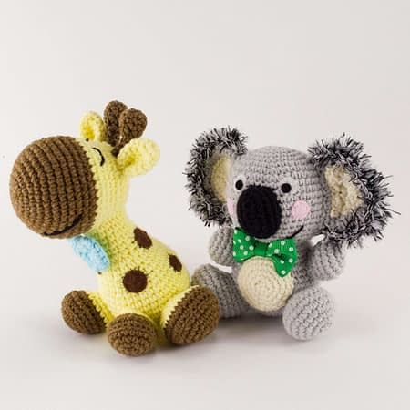 crochet ben the koala and happy the giraffe
