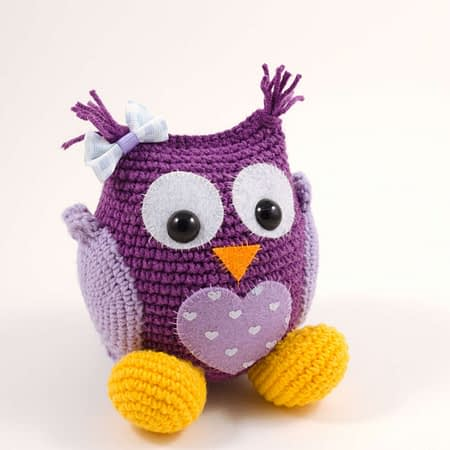 amigurumi purple owl front view