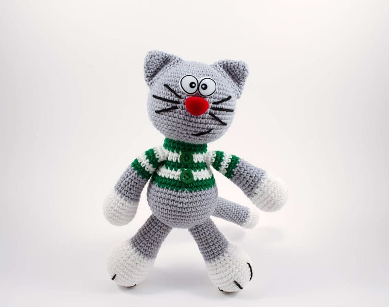 crochet Christmas cat elf front view