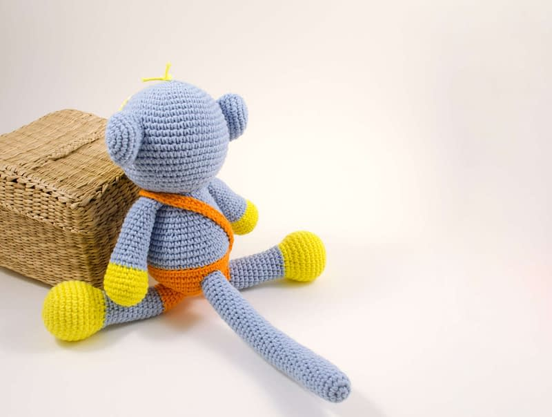 amigurumi blue monkey back view
