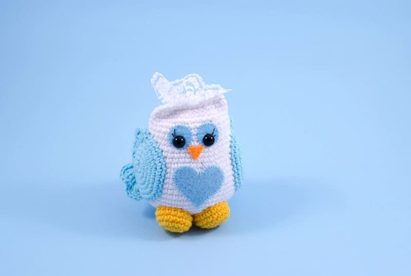 crochet bride owl front view