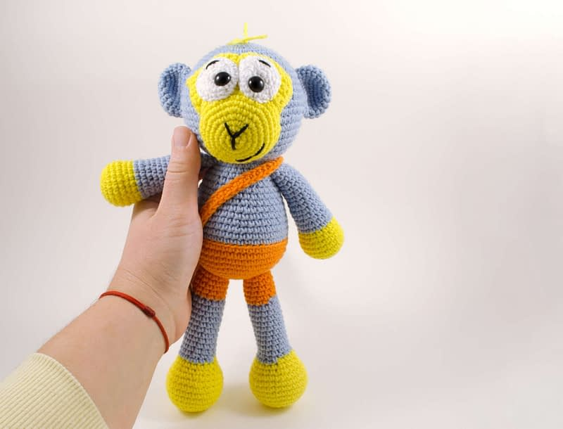 crochet blue monkey toy