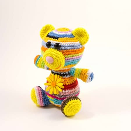 crochet rainbow teddy bear front view