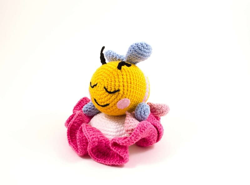 crochet bibi the bee on a flower