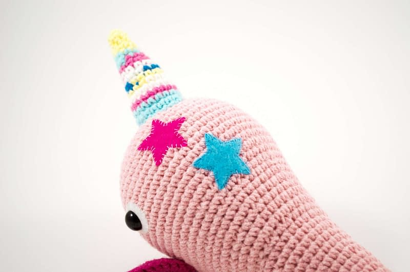 crochet pink narwhal close up view