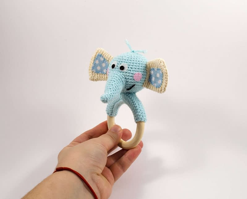crochet elephant teething ring front view