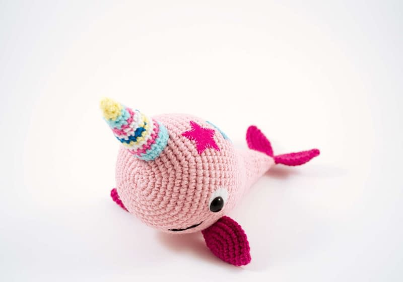 crochet pink narwhal front view