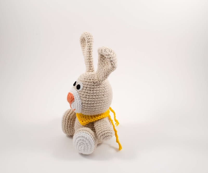 crochet bunny toy side view