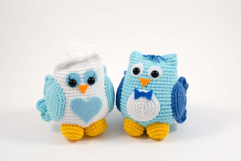 crochet wedding owl couple