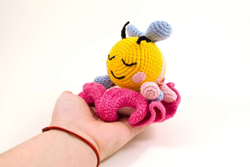 amigurumi bibi the bee on a flower