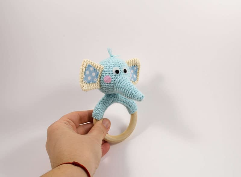 crochet elephant teething ring side view