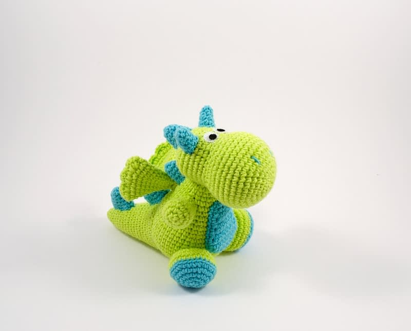 crochet green dragon side view
