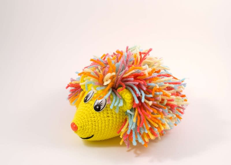 crochet rainbow hedgehog toy