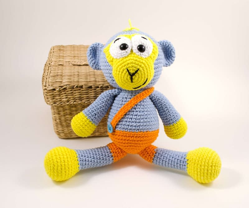 crochet blue monkey front view