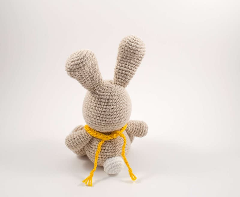 crochet bunny toy back view