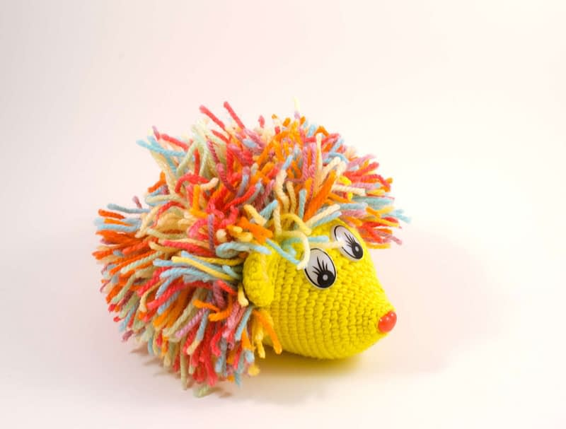 crochet hedgehog side view