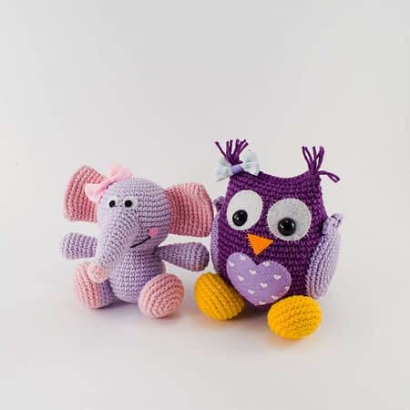 crochet pattern bundle elephant and owl
