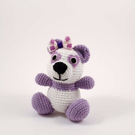 crochet purple panda front view