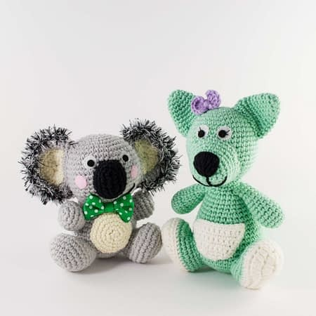crochet pattern pack koala and kangaroo
