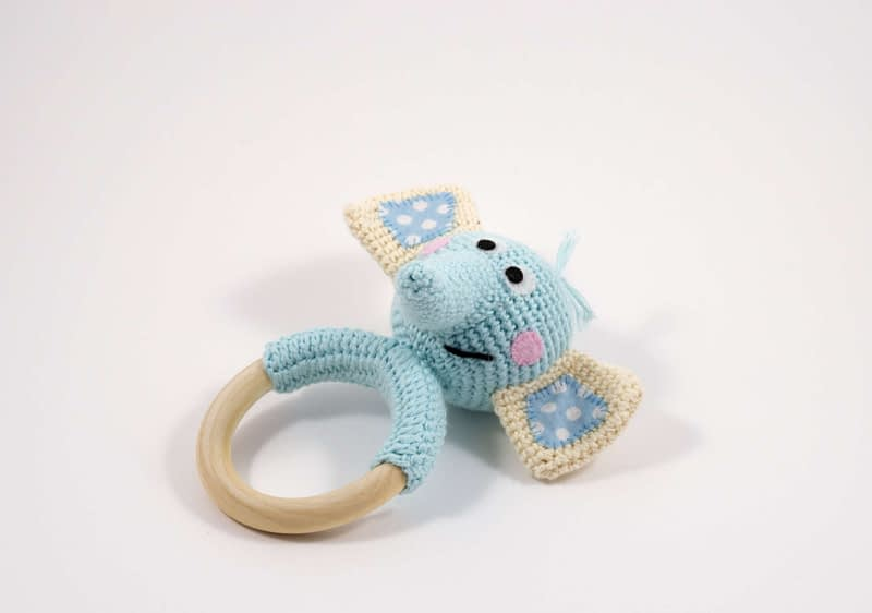 crochet elephant teething ring