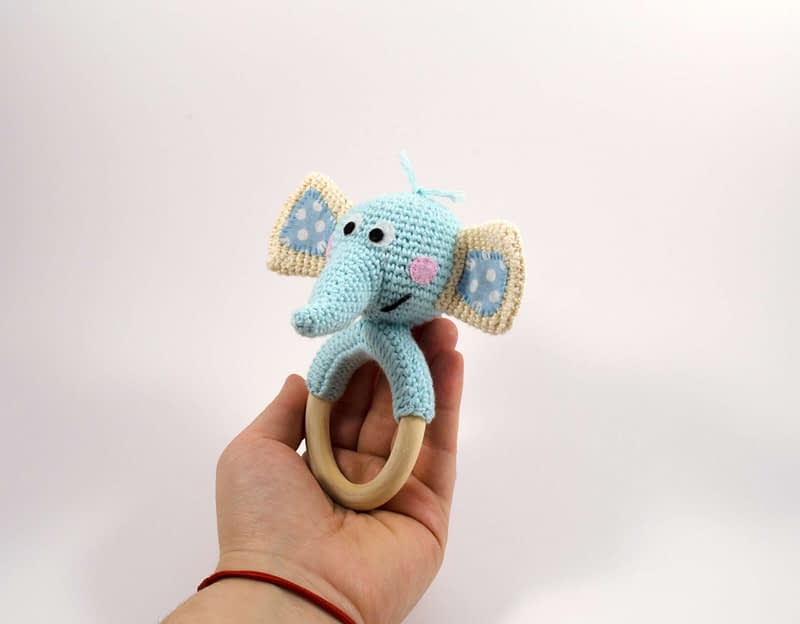 amigurumi blue elephant teething ring