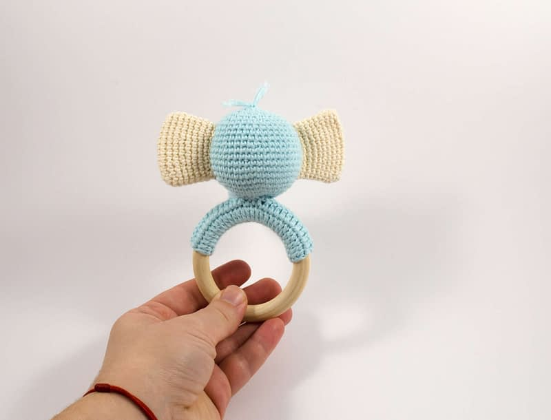 crochet elephant teething ring back view