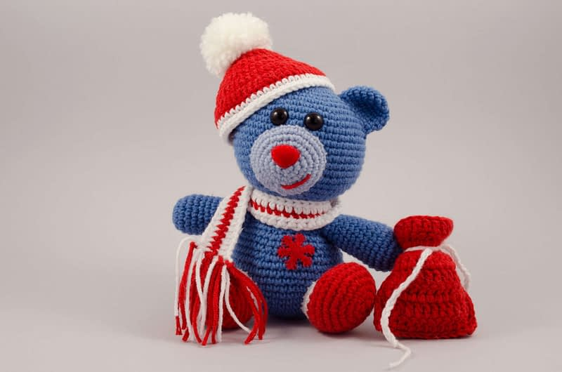 crochet Christmas bear front view