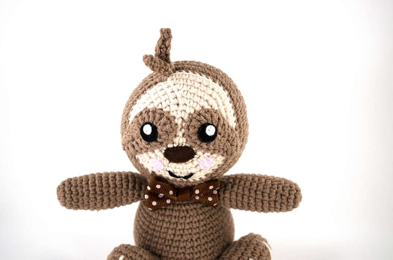 crochet sloth close up view