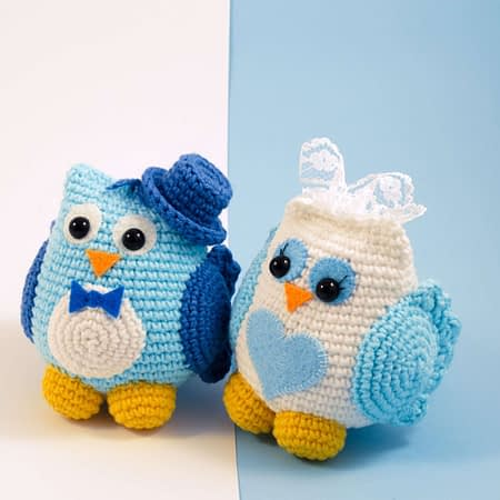 crochet weddin owls front view