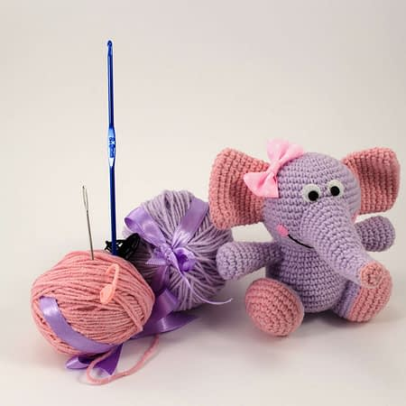 crochet purple elephant diy kit