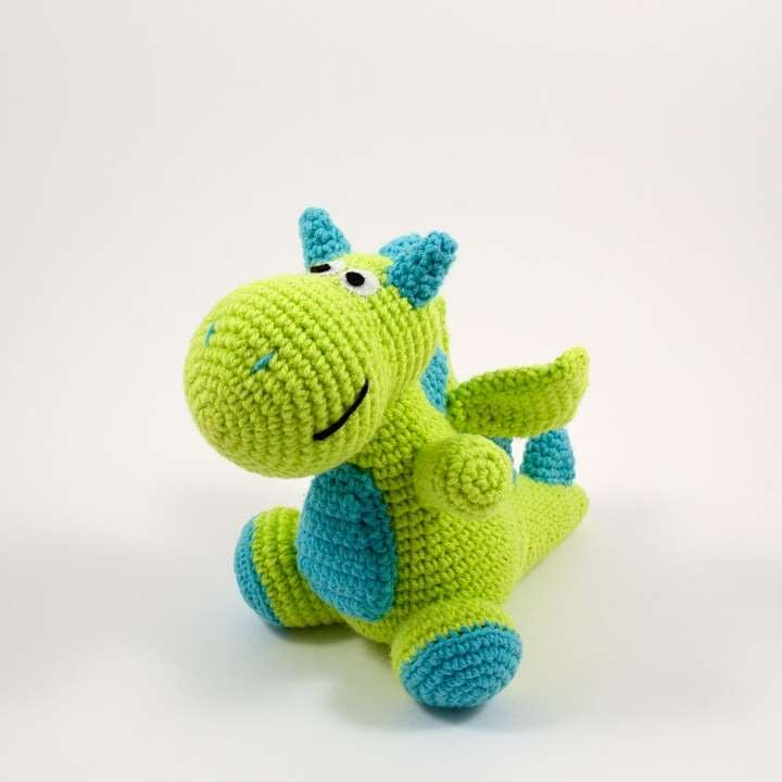 crochet green dragon front view