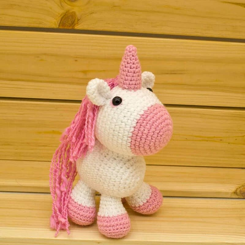 crochet pink unicorn side view