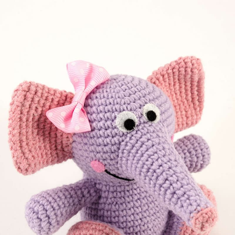 amigurumi purple elephant close up