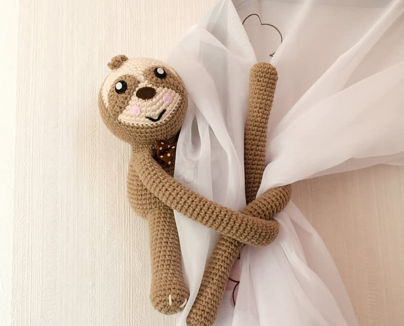 crochet sloth curtain tie back front view