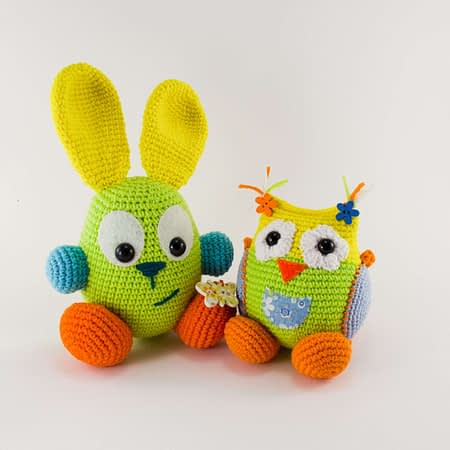 crochet bunny and baby owl