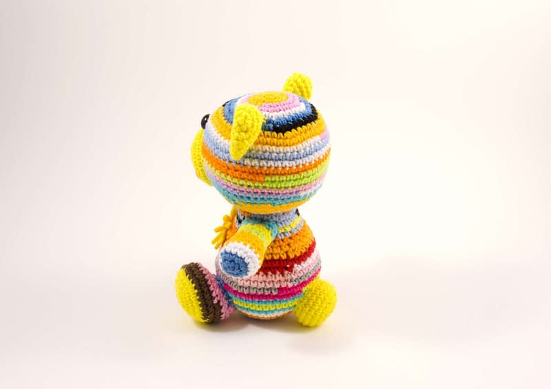 crochet teddy bear side view