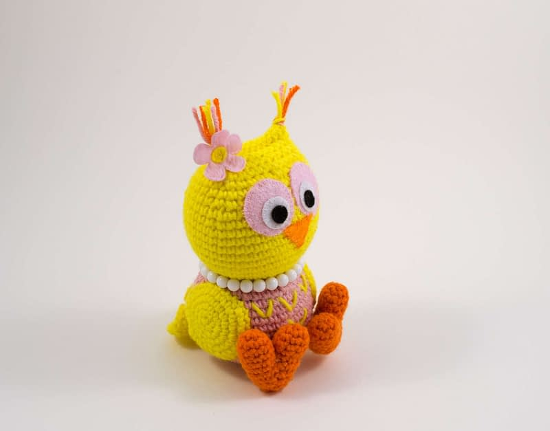 amigurumi baby owl side view