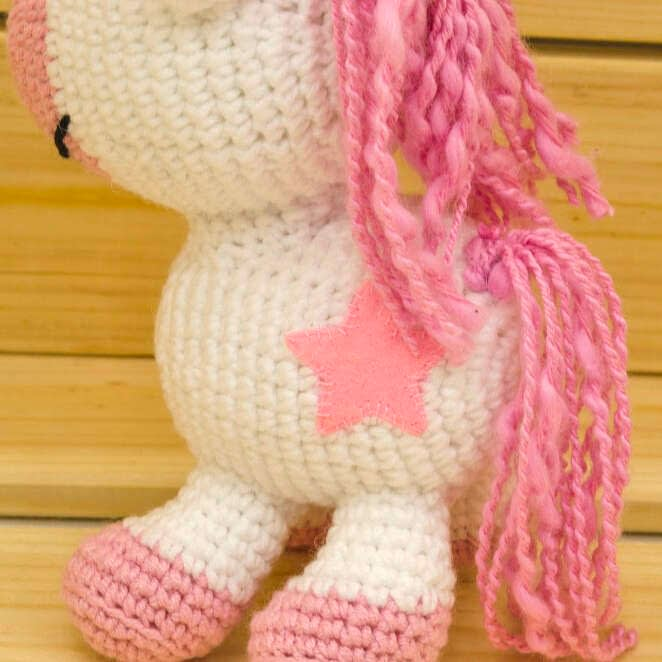 crochet pink unicorn close up