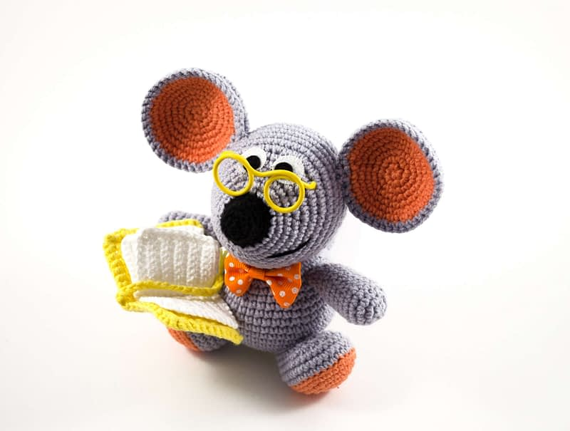 crochet mouse toy front view